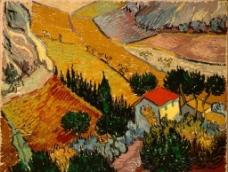 有房舍和農夫的景色图片
