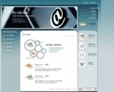 韩国网络科技谈蓝色网站模板图片