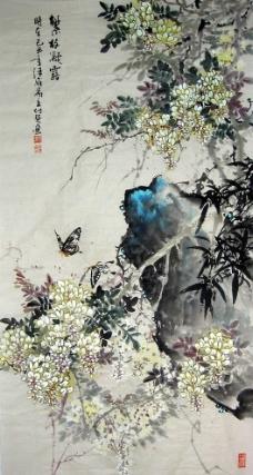名家书画付强花鸟画 繁枝凝露图片