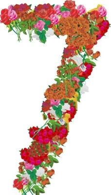 玫瑰花组成的数字7图片