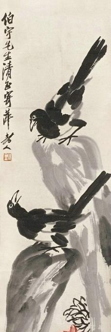 双鹊红菊图片