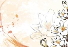 水墨风格花卉边纹 橘色图片