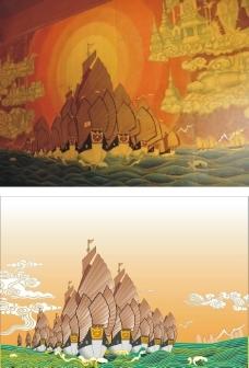 郑和宝船转矢量图片
