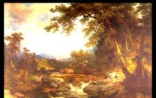 世界名画 油画 名画 画 树林小河图片