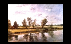 世界名画 油画 名画 画 树 小河图片