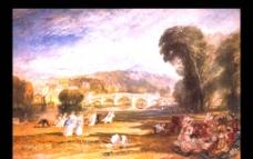 世界名画 油画 名画 画 树 人物 桥图片