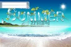 夏天英文字母透明字体海边海报广告素材