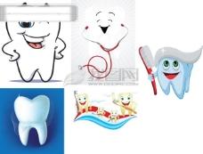 可爱的爱护牙齿插图矢量素材