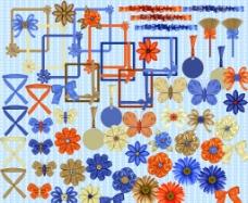 蝴蝶结边框与装饰小物图片