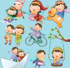 卡通冬季儿童图片