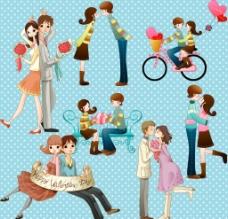 卡通 人物 情侣 男孩 女孩图片