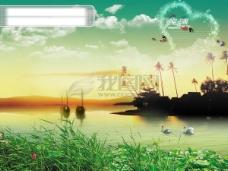 梦幻湖水风景