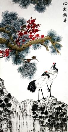 松鹤绘画素材,仙鹤和松树的简笔画图片,本站每天发布最新简笔画