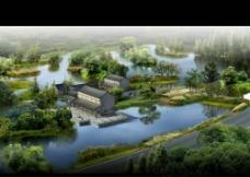 景观建筑效果图 鸟瞰图图片