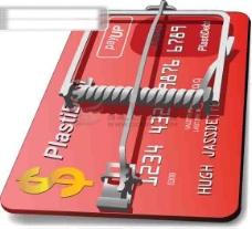 创意设计信用卡陷阱矢量素材