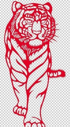 虎剪纸图片