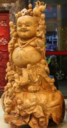 木雕 弥勒佛图片