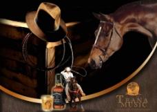 西部牛仔洋酒广告图片