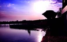 夕阳剪影图片