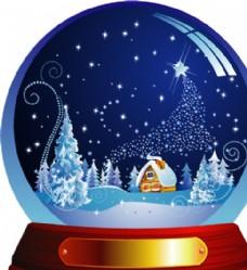 圣诞节水晶球矢量素材